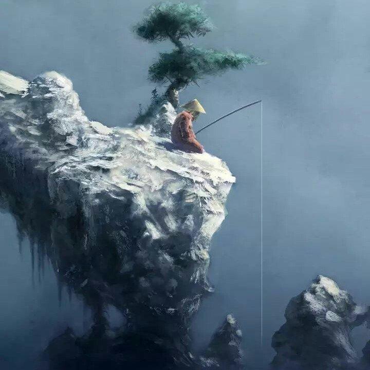 坐在石头上钓鱼
